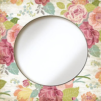 Vintage painted mirror cabbage rose