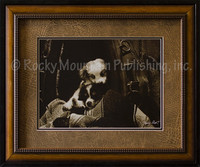 He Ain't Heavy - Framed Western Puppies Print - Barry Hart. Two cuddly puppies wrapped up in a Western blanket