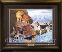 Lone cougar facing five hounds in a snowy mountain landscape - Tom Mansanarez Print