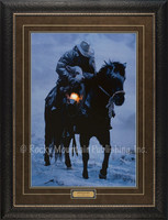 A weary cowboy and his horse rescuing a lamb in a snowy, winter landscape by the light of a single lantern - David Stoecklein Print