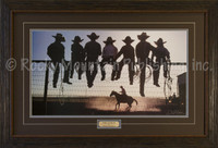 Seven young cowboys observing a riding lesson in a bright, western scene - David Stoecklein Print