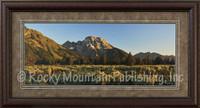 A bright morning sunrise showing on a grand mountain landscape - Mitchell Mansanarez Print