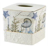 Antigua Ceramic Tissue Cover - Avanti Linens Beach Bath Accessories