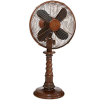 "Raleigh 10"" Faux Turned Wood Table Fan Portable Electric Fan"