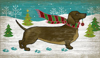 Christmas Doxie Vintage Holiday Sign