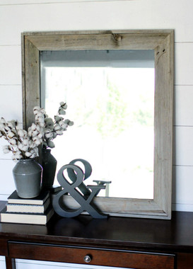 Lighthouse Rustic Barnwood Mirror with Raised Edge - on table