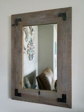Distressed Wood Mirror with Metal Brackets