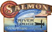 Vintage Salmon River Lodge Sign