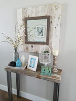 Reclaimed Slat Mirror with Whitewashed boards