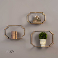 Uttermost Lindee Gold Wall Shelves S/3