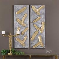 Uttermost Falling Feathers Gold Wall Art Set/2