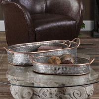 Uttermost Fabiana Antiqued Silver Trays Set/3