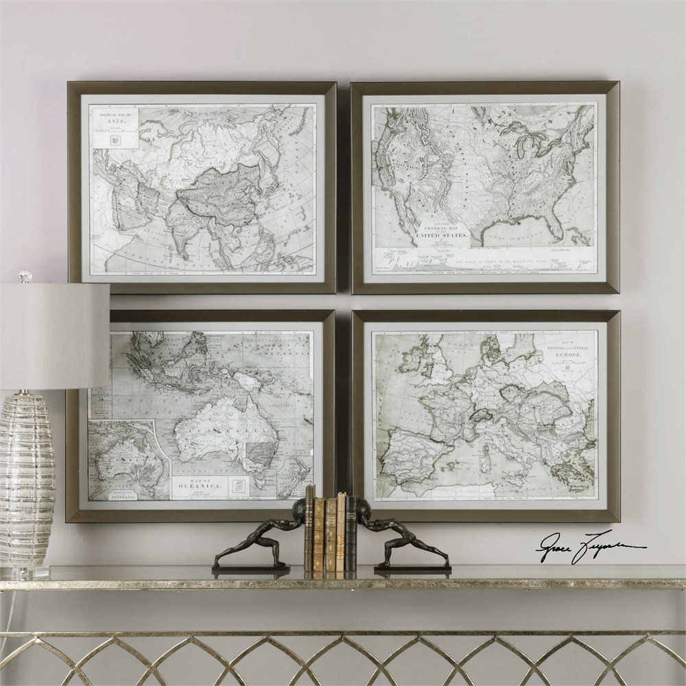 uttermost world maps framed prints s 4. Black Bedroom Furniture Sets. Home Design Ideas