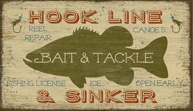 Vintage Fishing Decor Customizable Wood Vintage Bait And