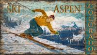 Vintage Aspen Skiing Sign