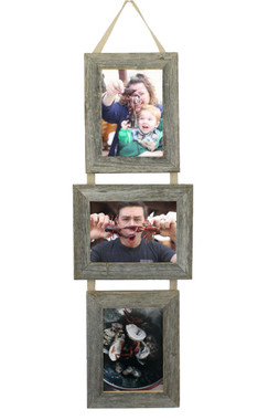 rustic barnwood 3 opening collage frame set 5x7 three barnwood frames on ribbon 2 - Collage Photo Frames