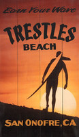 Vintage Surfing Signs - Trestles Beach-Earn your Wave