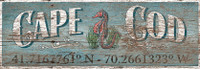 Vintage Latitude Cape Cod Sign