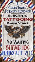 Vintage Barber and Tatooing Sign