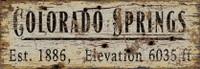 Vintage Colorado Springs City Sign