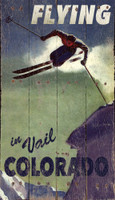 Vintage Flying in Vail Skiing Sign