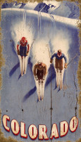 Vintage Triple Downhill Skiing Sign
