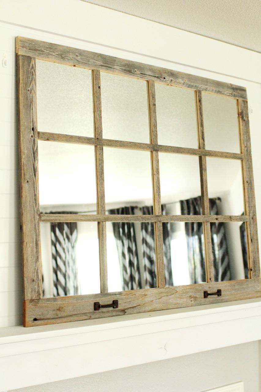 Farmhouse Windowpane Mirror 12 Panes Rustic Reclaimed Wood