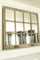 Farmhouse Mirror- 12 Window Pane Mirror- Barnwood