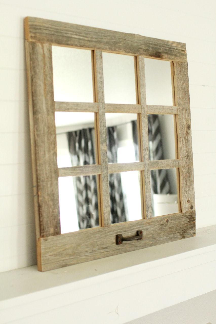 Farmhouse mirror 9 window pane mirror barnwood mirror for Making mirrors