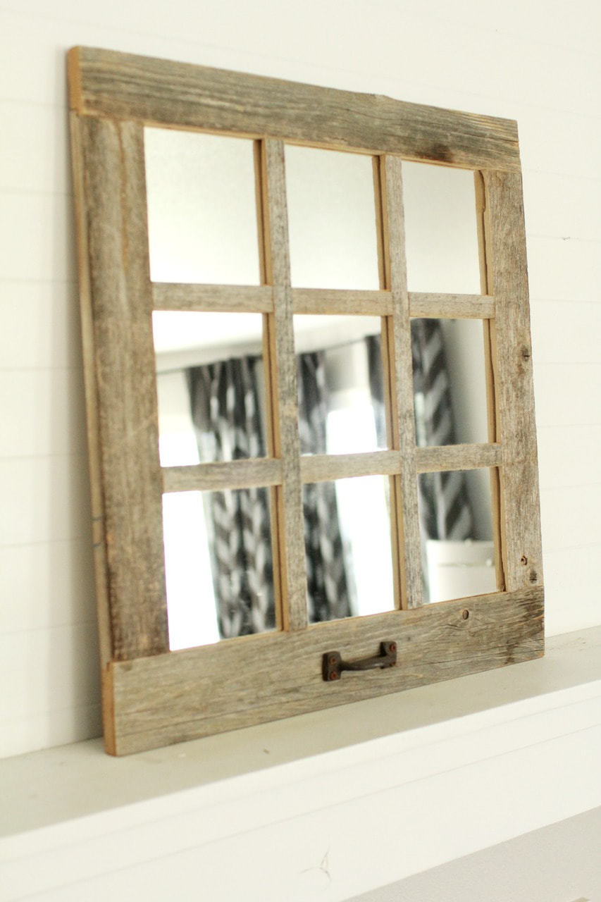 Farmhouse Mirror 9 Window Pane Mirror Barnwood Mirror