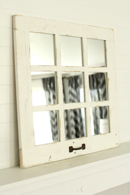 White Farmhouse Mirror 9 Window Pane White Mirror