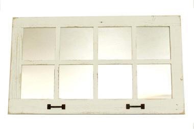 8 Window Pane Mirror - White