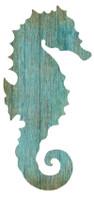 Vintage Aqua Seahorse Silhouette Sign-Left