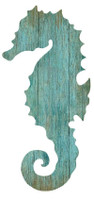 Vintage Aqua Seahorse Silhouette Sign-Right