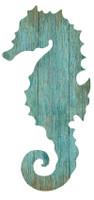 Vintage Aqua Seahorse Silhouette Sign-Right