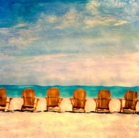 Vintage Chairs on Golden Beach Art