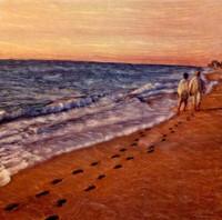 Vintage Couple Walking on Beach Art