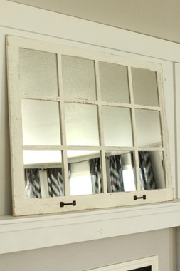 Farmhouse Windowpane Mirror 12 Panes Whitewashed