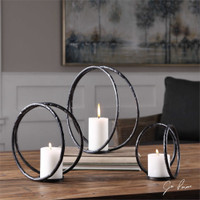 Uttermost Pina Curved Metal Candleholders S/3