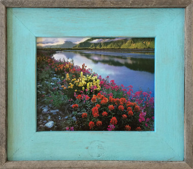 Teal or Robin Egg Blue barnwood picture frame - Size 8.5x11