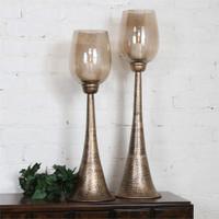 Uttermost Badal Antiqued Gold Candleholders Set/2