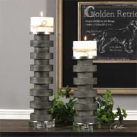 Uttermost Karun Concrete Candleholders S/2