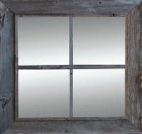Rustic Mirror  - Window Pane Barnwood Mirror - 4 Panes