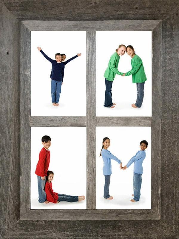 Four Opening Windowpane Collage Frame | Barnwood 4x6