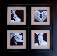 Window Pane Collage Frame, 8x8 Openings, Black Distressed