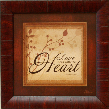 Rustic Wall Decor - Love Sees With the Heart (Shakespeare Quote)