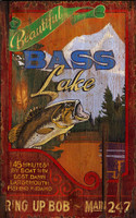 Vintage Lake Fishing Sign - Bass Lake