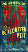 Nostalgic Vintage Signs- Primitive Red Lobster Restaurant Sign