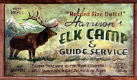 Vintage Hunting Signs - Elk Camp Rustic Wood Sign