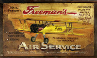 Vintage Aviation Signs - Freeman's Air Service Biplane Rustic Sign